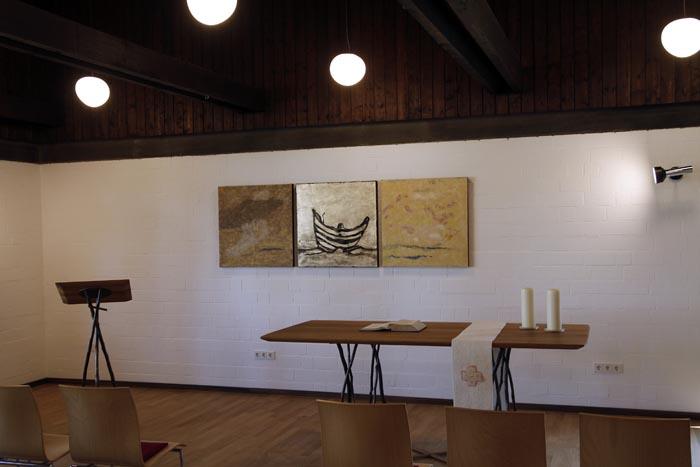Triptychon Mitte: Öl auf Gold auf Leinwand, Außen: Filz, je 80 x 80 cm, Ev. Kirchengemeinde Elz