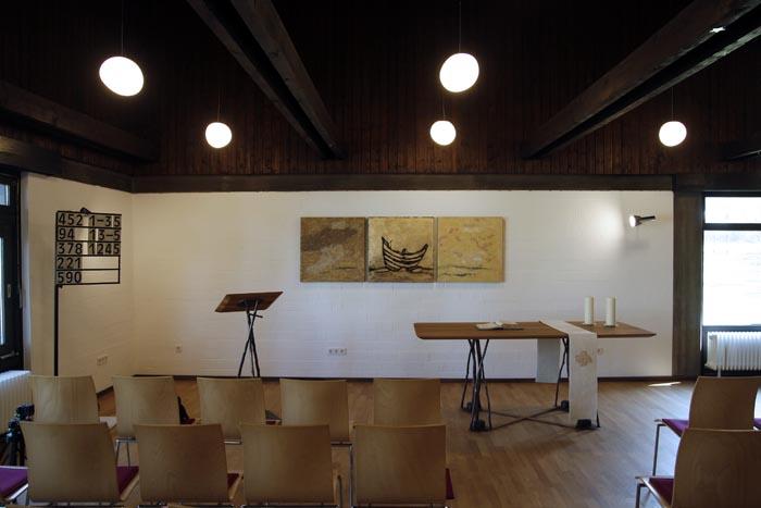 Mitte: Öl auf Gold auf Leinwand, Außen: Filz, je 80 x 80 cm, Ev. Kirchengemeinde Elz
