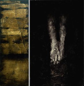 """Werk Nr. 1462-63 """"ad pedes"""" Öl auf Acryl / Öl auf Goldgrund auf Leinwand - Gesamtformat 95 x 95 cm"""