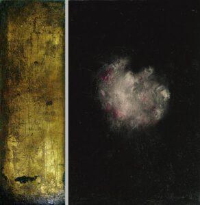 """""""ad cor"""" Werk Nr. 1472_73 - Öl auf Acryl / Öl auf Goldgrund auf Leinwand - Gesamtformat 95 x 95 cm"""