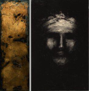 """""""ad faciem"""" Werk Nr. 1474_75 - Öl auf Acryl / Öl auf Goldgrund auf Leinwand - Gesamtformat 95 x 95 cm"""