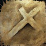 """""""Kreuz"""" (Mittelteil des Tripychons) - Öl auf Goldgrund auf Leinwand - 100 x 100 cm - 2020 Ev. Kirchengemeinde Worms-Ibersheim"""