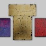 """""""La Nativite du Seigneur"""" (Vers 2) Acryl, Öl auf teilweise Goldgrund auf Leinwand - Präsentationsgröße 400 cm breit"""