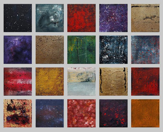 vingt regards sur lénfant jesus aus der Serie Hommage á Messiaen, Acryl auf Leinwand, je 30 x 30 cm
