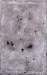 Werk Nr. 1630 - Aschevariation 2 - Asche und Acryl auf Leinwand - 95 x 60 cm - 2020/2021