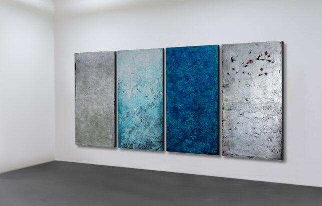 """""""L´Ascension"""" - vierteiliger Bildzyklus nach dem Orgelwerk von Olivier Messiaen - Acryl, Asche. Blattsilber auf Leinwand - je 250 x 120 cm - 2008"""